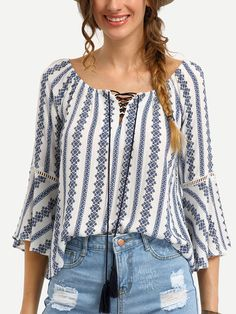 To find out about the Tribal Print Tassel-Tie Neck Bell Sleeve Blouse at SHEIN, part of our latest Blouses ready to shop online today! Tie Neck Blouse, Bell Sleeve Blouse, Bell Sleeves, Neck Ties, Collar Blouse, Blue Blouse, Boho Tops, Trendy Tops, Casual Tops