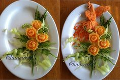 Rose Melon plate This vegetable plate carve from carrot peacock, melon flower, celery ribbon and melon peel. Food Carving, Wax Carving, Watermelon Flower, Flower Structure, Carrot Flowers, Fruit And Vegetable Carving, Party Platters, Mango, Fruit Arrangements