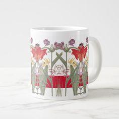 #Vintage Botanical Lily Flowers Jumbo Mug - #flower gifts floral flowers diy