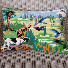 Retro needlepoint cushion cover of an English Pointer and ducks by KindredClassics on Etsy Neutral Colors, Colours, Dark Red Background, English Pointer, Needlepoint Kits, Red Poppies, Wool Yarn, Ducks, Hand Stitching