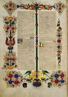 Bible of Borso d'Este. World Digital Library.  The magnificent Bible of Borso d'Este represents the zenith of Ferrarese miniature painting and one of the highpoints of Italian Renaissance manuscript illumination. It was commissioned by Borso d'Este (1413–71), the first duke of Ferrara, who intended it as a demonstration of the splendor of the House of Este, which at the time was competing with Florence and the court of the Medici for international status. The manuscript was completed between…