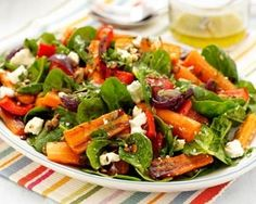 Roasted carrot, spinach and feta salad