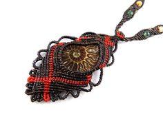 Ammonite Fossil Necklace Macrame Beads Tribal Thailand Surfer Choker Boho Adjustable