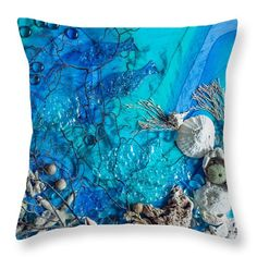 Dawn Broom Throw Pillow featuring the painting Deep Blue Sea Series 2 by Dawn Broom