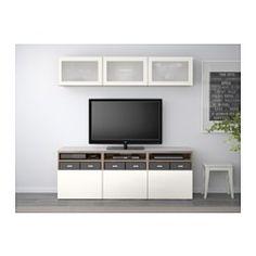 BESTÅ TV storage combination/glass doors - walnut effect light gray/Selsviken high-gloss/white frosted glass, drawer runner, push-open - IKEA