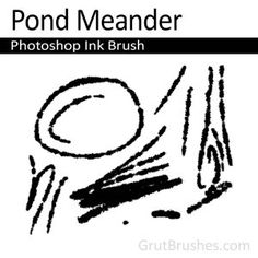 Pond Meander - Photoshop Ink Brush    A blotchy wet ink brush with an intermittent line. Rough and full of personality this sketching brush will bleed a little if your hand lingers too long.
