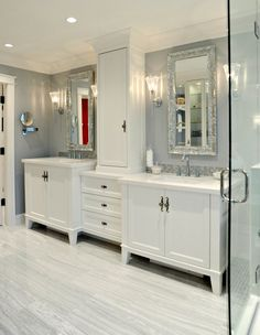 The look we're going for...tower in the middle on top of center stack of drawers. His/Her sinks on each side.