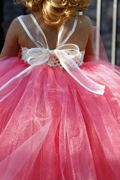 DIY flower girl dress with stretch headband, ribbon and tulle
