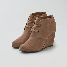 AEO DV by Dolce Vita Gardyn Wedge Boot Cuties ($110) ❤ liked on Polyvore featuring shoes, brown, suede boots, brown wedge shoes, wedges shoes, brown wedge boots and brown suede shoes