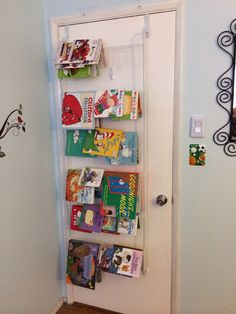 Upside down over the door shoe rack as kids bookshelf