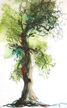 #watercolor tree by lizzygraykitchens.com lizzygraykitchens.com/blog