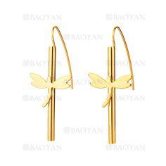 aretes con libelula de dorado en acero-SSEGG264423