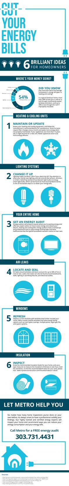 6 Brilliant Ways to Cut #Energy Bills Infographic