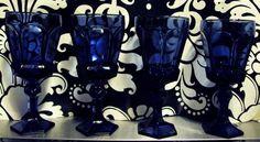 Royal blue depression glass goblets $30