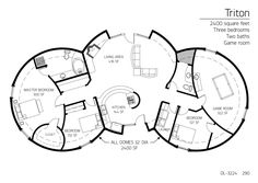 Cordwood round home, floor plan. 3 bedroom + game room
