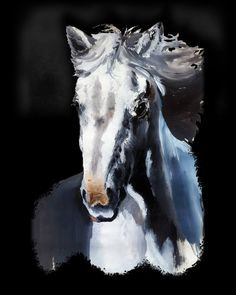 #SaatchiArt #Artist: #BluedarkArt - #Gouache 1981 #Painting > The #Horse #Ghost - #Prints #4sale   http://www.saatchiart.com/art/Painting-Horse-Ghost/855287/3087777/view  Original Gouache/Tempera Painting on Paper; Portrait of a Beautiful and wild white Horse looking like a ghost, or a Hologram, coming out from the Dark. BluedarkArt Copyright.