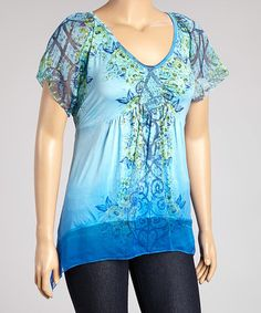 This Blue Abstract Sidetail Top - Plus is perfect! #zulilyfinds