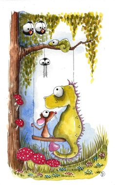 Original watercolor painting whimsical Dragon Mouse chameleon tree swing friends #IllustrationArt
