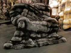 Dark Grey Fox Fur Throw