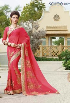 Women s Clothing - Party Wear Pink Georgette Embroidered Saree - 72952 - Products Details : Style : Party Wear Saree Size : Length Of Saree : - Party Wear Pink Georgette Embroider Indian Designer Sarees, Designer Sarees Online, Indian Sarees, Laxmipati Sarees, Lehenga Choli, Sari, Collection 2017, Saree Collection, Indian Wedding Outfits