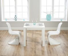 Atlanta 80cm White High Gloss Dining Table with Verner Panton Style S Chairs