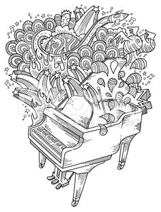 Piano doodles royalty-free stock vector art