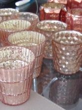 Mercury glass votives (blush pink and gold) - This site not the GWS one! My bad. Dream Wedding, Wedding Day, Wedding Things, Wedding Stuff, Pink And Gold, Blush Pink, Rose Gold, Recycled Wedding Decorations, Mo & Co