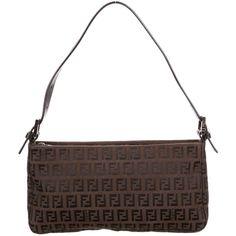 Pre-owned Fendi Zucchino Shoulder Bag (€165) ❤ liked on Polyvore featuring bags, handbags, shoulder bags, brown, handbag purse, canvas handbags, fendi handbags, man bag and zipper shoulder bag