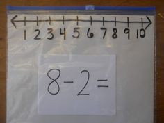 This is BRILLIANT. Draw a number line with sharpie on a ziploc slider bag and use the slider as the tool to add or subtract two numbers. Awesome! (Dead pin)