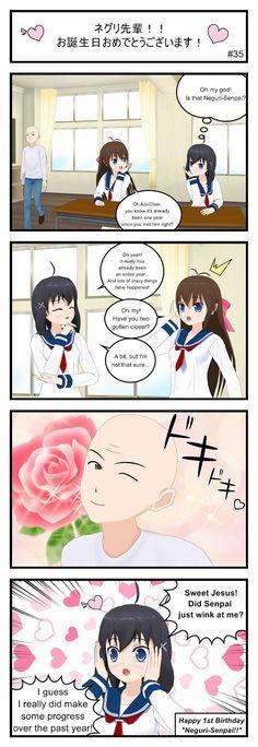 Neguri-senpai!!: Neguri-Senpai!! Happy 1st Birthday! #4koma #manga