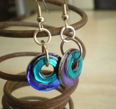 Washer Earrings: Teal and Purple - Hardware Jewelry - Unique Jewelry - Spring Fashion from MaddDoggofTomorrow on Etsy. Saved to Jewelry. Nail Polish Jewelry, Enamel Jewelry, Metal Jewelry, Antique Jewelry, Beaded Earrings, Beaded Jewelry, Hardware Jewelry, Recycled Jewelry, Jewelry Crafts