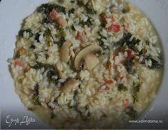 Ризотто с грибами, капустой кале и беконом. Ингредиенты: рис для ризотто , капуста кале замороженная, шампиньоны