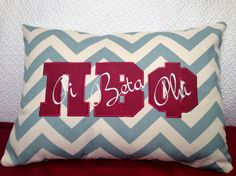 Pi Beta PHI Sorority Chevron Pillow with Greek Letters Wine and Blue
