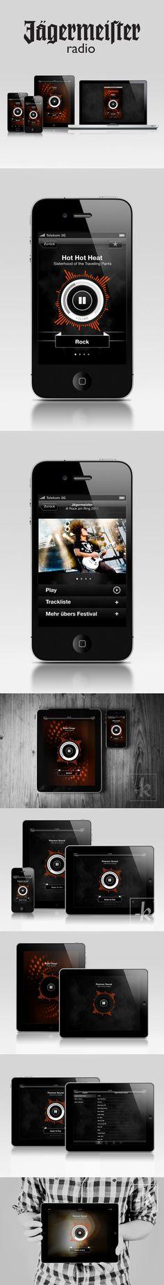 Jägermeister - Radio Apps by Krunchtime , via Behance   ***   Jägermeister Radio Player Apps for mobile (iPhone, iPad, Android), desktop (Mac/Win), and www (Mainsite/Facebook).