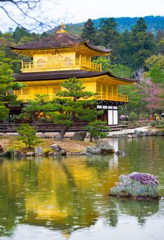 "Kinkaku-ji (金閣寺. ""Temple of the Golden Pavilion""), officially named Rokuon-ji (鹿苑寺. ""Deer Garden Temple""), is a Zen Buddhist temple in Kyoto, Japan"