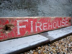Rustic Distressed Firehouse Wood Fire Fighter Wood Sign Fireman by TheUnpolishedBarn,