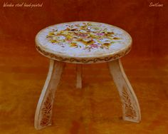 Wooden stool hand-painted with acrylic upon the handmade craquelure, varnished with gloss. Sea Flowers, Wooden Stools, Mixed Media Painting, Decorative Objects, Painting & Drawing, Framed Art, Art Gallery, Hand Painted, Glass