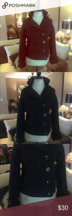 Ariella pea coat not wool black medium Medium pea coat not wool lightweight material runs small Ariella Jackets & Coats Pea Coats