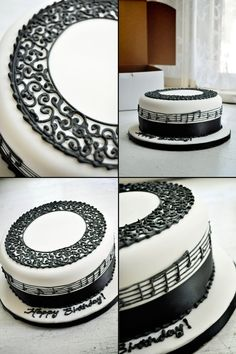 This Musical Birthday Cake was covered in fondant, then just decorated with black icing and ribbon. The icing on top looks to resemble a lacy, almost treble clef design and the sheet music around the sides is a song of choice #piano #music