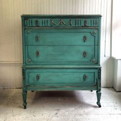 Turquoise~ mix Florence 1.5 : 1 Provence then wax with mix of dark and clear, King Gold gilding wax by Maison Decor by deidre