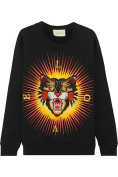 Gucci - Appliquéd Printed Cotton-jersey Sweatshirt - Black - medium