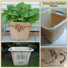 Recycle a broken laundry basket to use as planter What a brilliant way to use an otherwise, useless item destined for the tip? Basket Planters, Outdoor Planters, Diy Planters, Garden Planters, Outdoor Gardens, Diy Garden Decor, Garden Crafts, Garden Projects, Pot Jardin