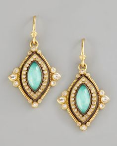 Green Turquoise Drop Earrings by Armenta at Neiman Marcus.<32280<3