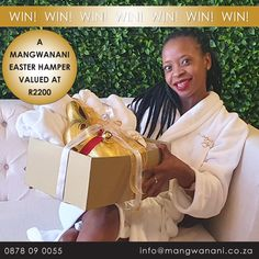 YAY! Book Now and You Could Win a Mangwanani Easter Hamper Valued at R2200! All You need to do is book your much-needed Spa Spoil for April or May before 10th April and You could win one of our Mangwanani Hampers each consisting of: 1 x 1Kg Chocolate Lindt Bunny 1 x Super Soft Coral Fleece Mangwanani Winter Gown 2 x 60 Minute Full Body Massage Vouchers  Call 0878 09 0055 or book online now #lockdownfun #competitiontime #theorignalafricanspa #spoilyourself Winter Gowns, Competition Time, Soft Corals, Spoil Yourself, Hampers, Full Body, Books Online, Massage, Bunny