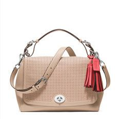 Coach is a favorite brand and this modern mesh leather with giant tassels is adorable. Also comes in hot pink and navy. Drools.