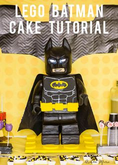 Full video tutorial for how to make a standing Lego batman cake - can be used for ANY Lego character cake