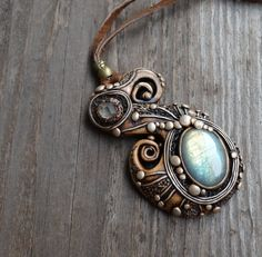 FREE SHIPPING Blue Fluorite and Labradorite Pendant by FairyDrop