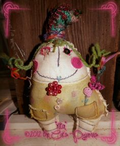 Art Doll Crazy Rita funky mixed media artist doll by Denise White of The Cat's Pyjamas. $45.00, via Etsy.
