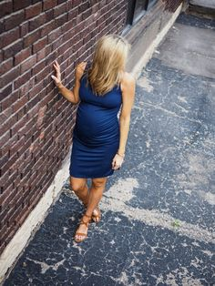 f759e187446 Fashion and Lifestyle Blogger  megcusick styles Stowaway Collection V-Neck Maternity  Dress Maternity Style