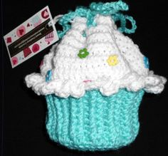 """Crochet Little girls CUPCAKE PURSE this is just to cute. Great for your Little Girl, Grand daughter, Niece, Your friends daughter.   7"""" tall and 4.5"""" Diam"""
